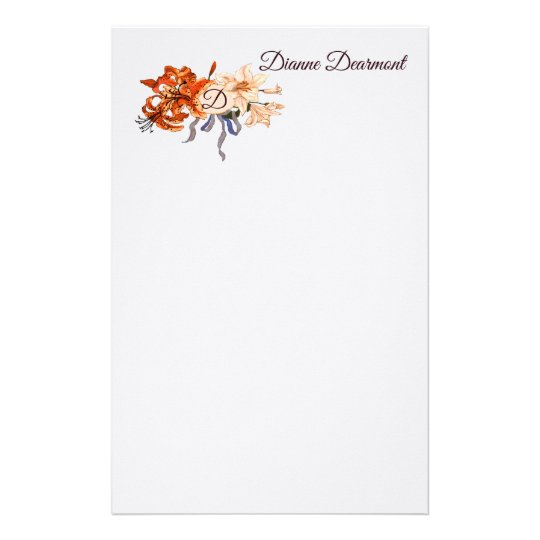 Floral Monogram with your choice of letters Stationery Zazzle