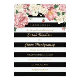 Floral Stripes Wedding Invitations