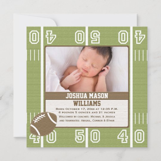 Football Photo Birth Announcement Cards Zazzle