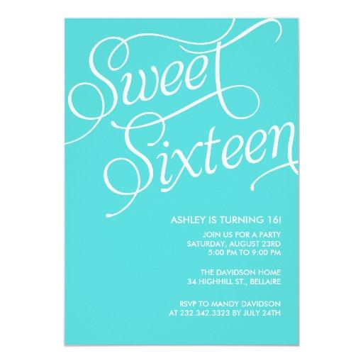 Formal Blue Sweet 16 Invitations Zazzle