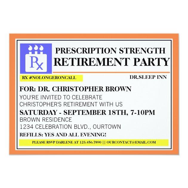 Fun Prescription Label Retirement Invitations Zazzlecom