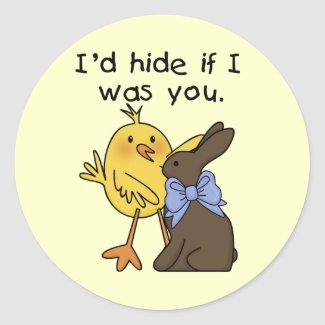 Funny Chocolate Bunny Easter Tshirts and Gifts Round Stickers