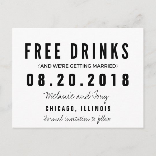 Funny Free Drinks Wedding Save the Dates Announcement Postcard - free wedding save the dates