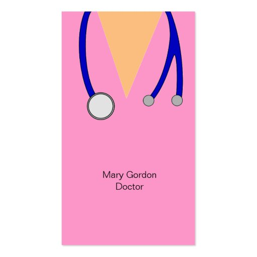 Funny Pink Scrubs and Stethoscope Medical Doctor Business Card