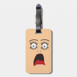 Funny Surprized lady face Tag For Luggage