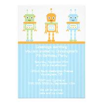 Futuristic robot boy's birthday party invitation
