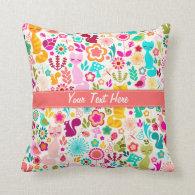 Garden Kitty Throw Pillows