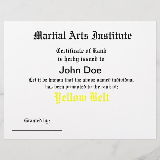 Generic Martial Arts Certificate Zazzle