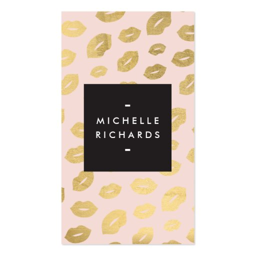 Glam Gold Lip Print on Pink for Makeup Artists Business Card