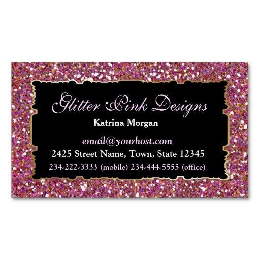 Glitter Pink Elegance Magnetic Business Card