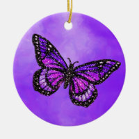 Glittery Butterfly on Watercolor Double-Sided Ceramic Round Christmas Ornament