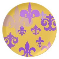Gold and Purple Fleur de Lis Decorative Plate | Zazzle