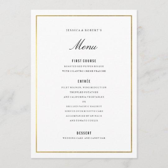 Gold Border Elegant Wedding Menu Card Zazzle