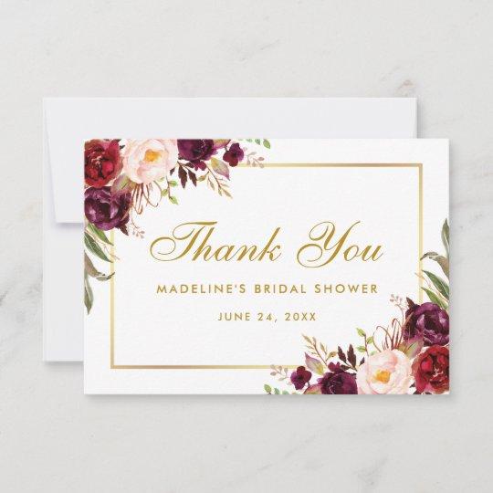 Gold Floral Burgundy Bridal Shower Thanks SB Thank You Card Zazzle
