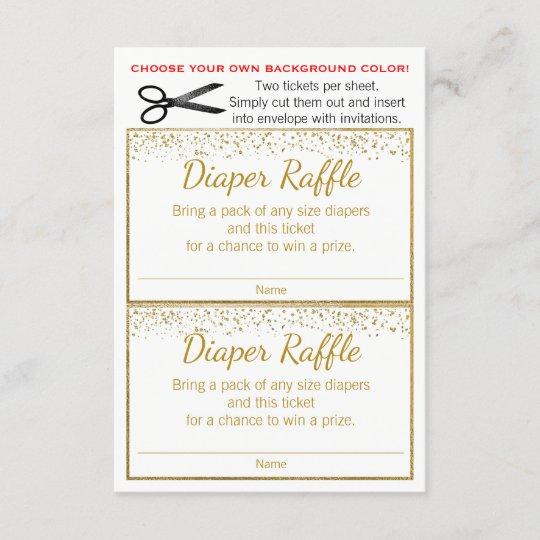Gold Glitter Any Color Diaper Raffle Tickets Zazzle