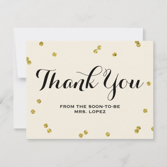 Gold Glitter Bridal Shower Thank You Cards Zazzle