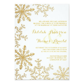 Gold Glitter Snowflakes Elegant Winter Wedding 5x7 Paper Invitation Card