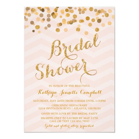 Gold Glittering Confetti Bridal Shower Invite