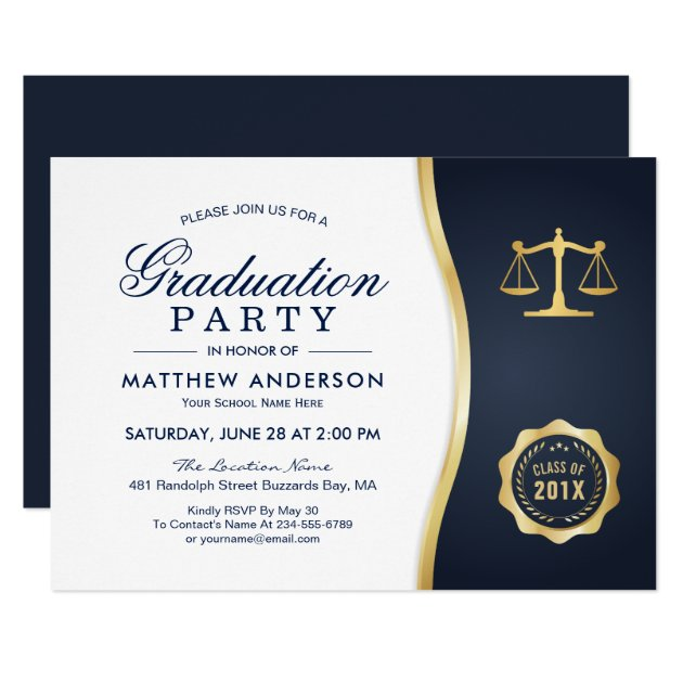 Personalized Law School Graduation Invitations CustomInvitations4U - graduation party invitations