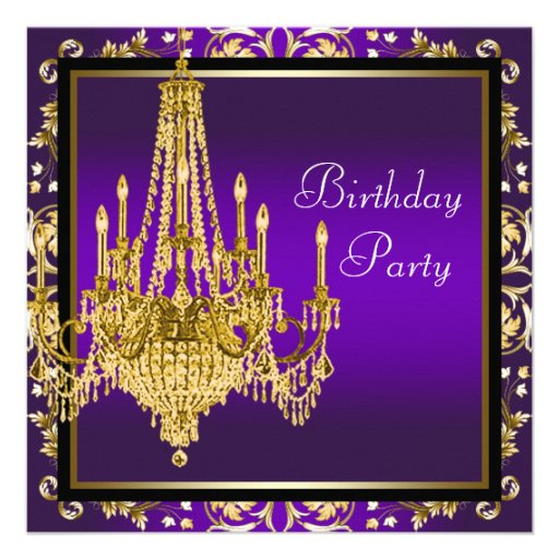 Personalized Purple And Gold 50th Birthday Invitations