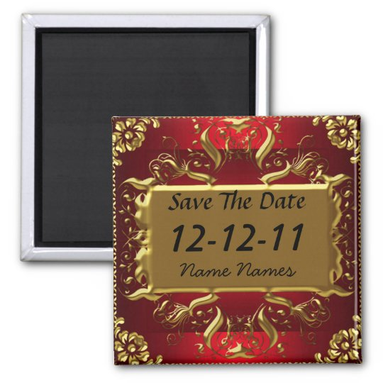 Gold Red Save the Date Create Your Own Magnet Zazzle