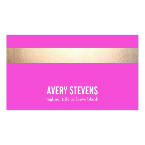Gold Striped Modern Hot Pink Business Card