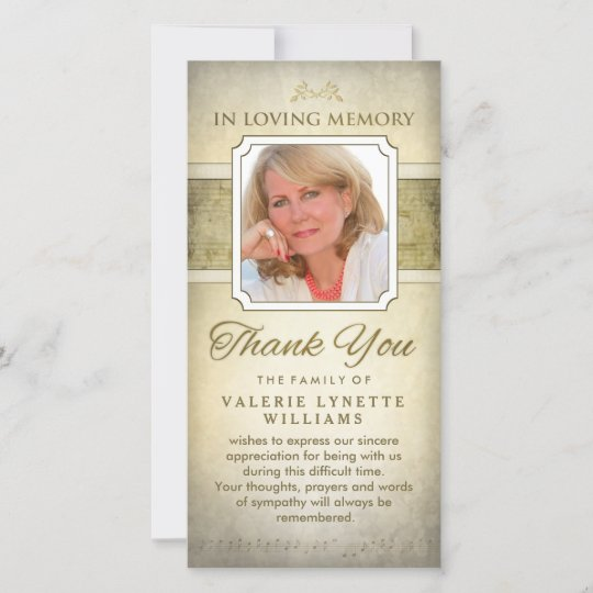 Golden Notes Musical Memorial Thank You Card Zazzle