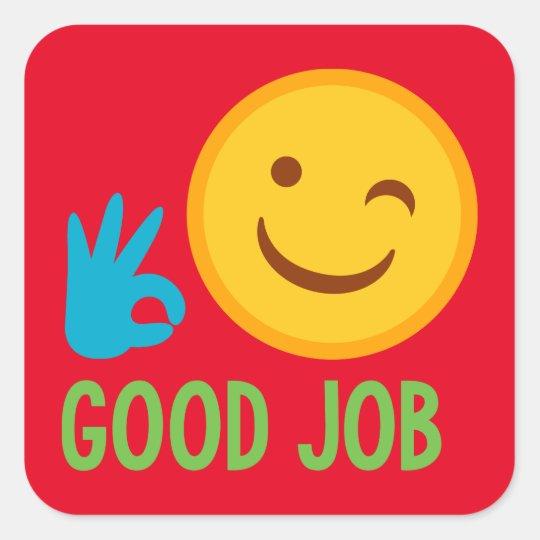 Good Job Emoji Square Sticker Zazzle