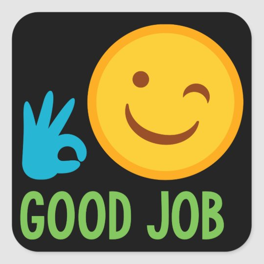 Good Job Emoji Square Sticker Zazzle