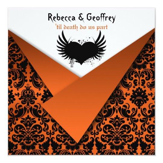 Gothic Orange And Black Damask Wedding Invitation Zazzle