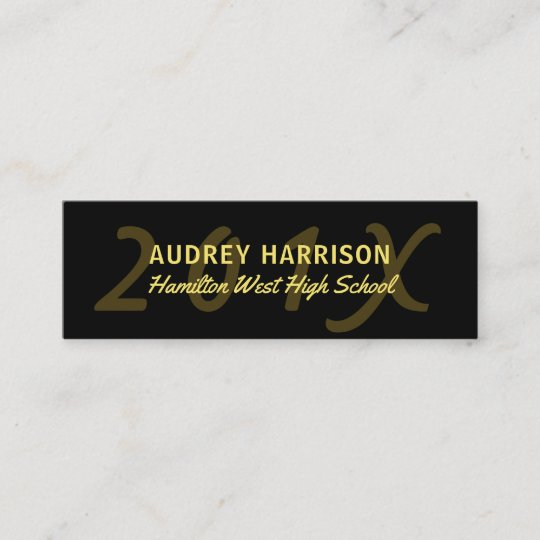 Graduation Name Card Senior Year Insert Black Gold Zazzle