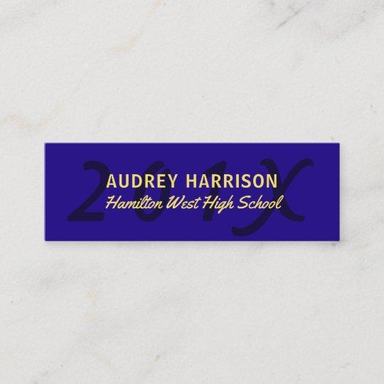 Graduation Name Card Senior Year Insert Blue Gold Zazzle