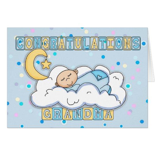 Grandma New Baby Boy Congratulations Card Zazzle - new baby congratulations card