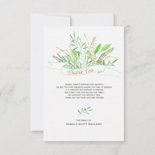 Grasses Sympathy Thank You Card Zazzle