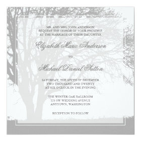 Gray Oak Tree Winter Wedding Invitation