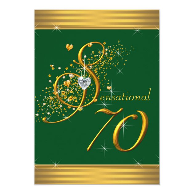 Green And Gold 70th Birthday Party Invitations Zazzlecom