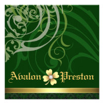 Green Scroll Shamrock St Patrick's Day Wedding Personalized Announcements