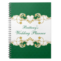 Green, White, Gold Scroll Wedding Planner Notebook