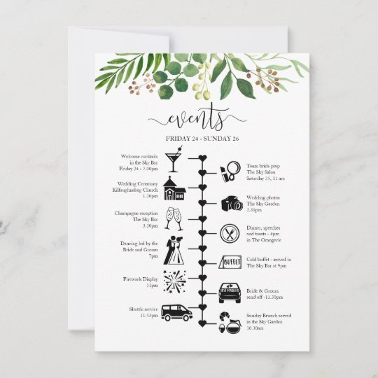 Greenery wedding timeline and guest itinerary advice card Zazzle