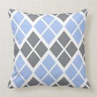 Grey and Blue Argyle Throw Pillow | Zazzle