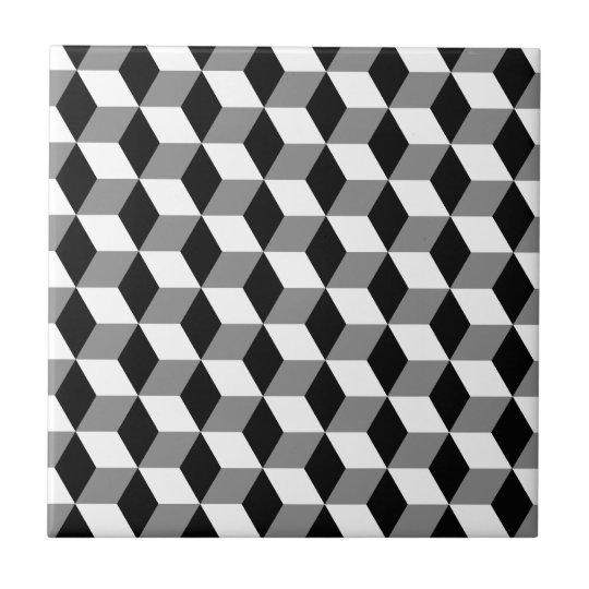 Black White Square Wallpaper Grey Black Amp White 3d Cubes Pattern Tile Zazzle Com