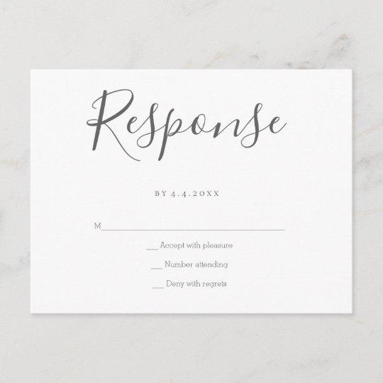 Grey response wedding rsvp postcards Zazzle - wedding response postcards
