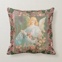 Guardian Angel with Pink Roses Throw Pillow | Zazzle.com