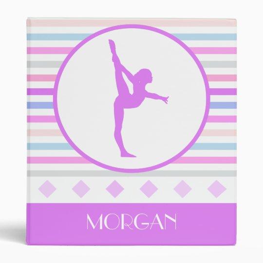 Gymnastics Pastel Horizontal Stripes w/ Monogram 3 Ring Binder