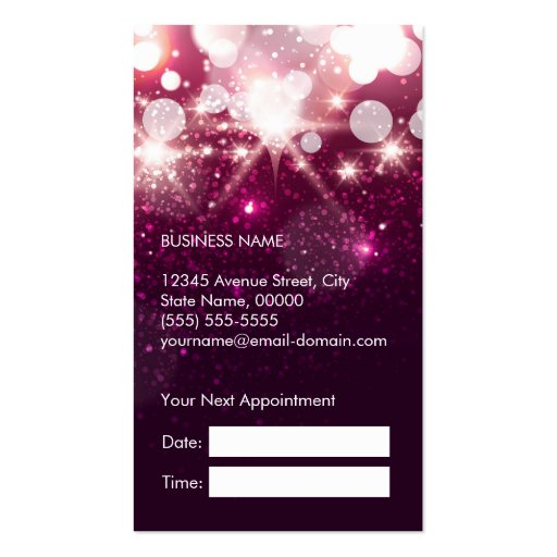 Hair Stylist Appointment Card Pink Glitter Sparkle Business Card