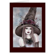 Halloween Witch with kitty card by Renee Lavoie
