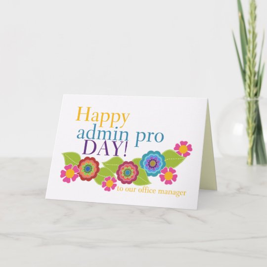 Happy Administrative Professionals Day, Office Mgr Card Zazzle