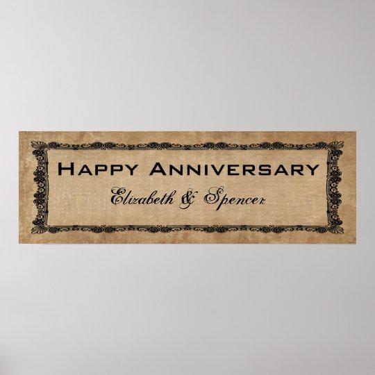 Happy Anniversary Banner Type Poster Zazzle