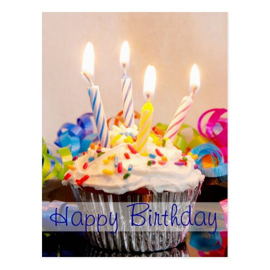 Happy Birthday Cupcake with Candles Postcard Zazzle