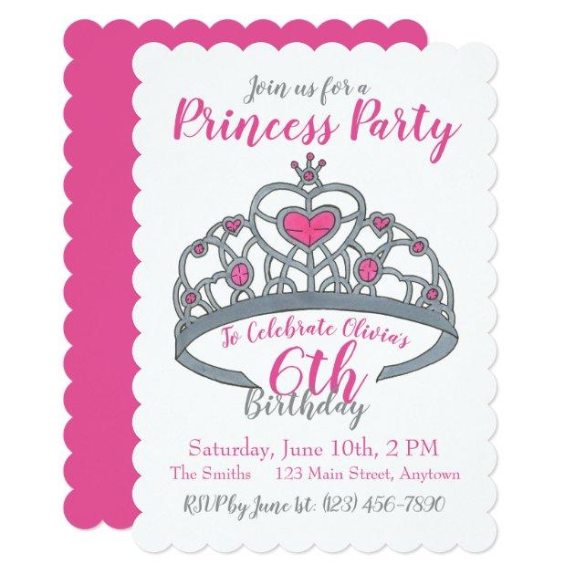Happy Birthday Pink Princess Party Tiara Crown Invitation